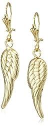 14k Yellow Gold Angel Wing Drop Earrings