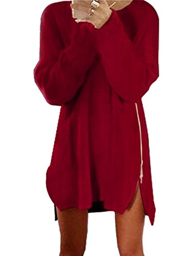 Xuan2Xuan3 Women Side Zipper Long Casual Loose Tunic Knit Pullover Sweater Dress Jumper