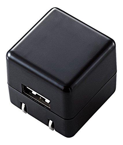 エレコム USB充電器 iPhone&Android対応 1A出力 1ポート AC充電器 CUBE 急速充電 ブラック MPA-ACUAN007BK