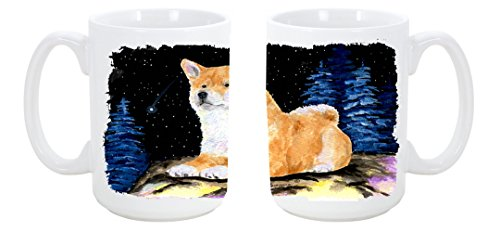 Caroline'S Treasures Starry Night Shiba Inu Dishwasher Safe Microwavable Ceramic Coffee Mug 15 Ounce Ss8445Cm15 Made Or Printed In The Usa