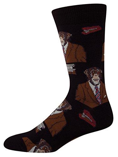 Socksmith Men's Monkey Biz Crew Socks, Black, Large