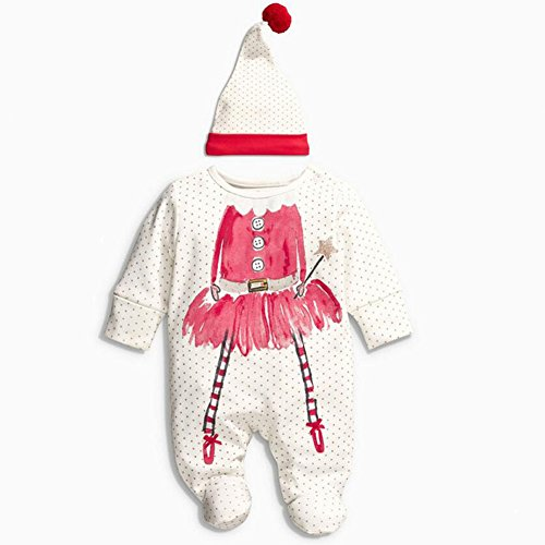 Fariy Baby Long Sleeve Baby Outfits First Christmas Gift Footie and Hat Set,0-6Months
