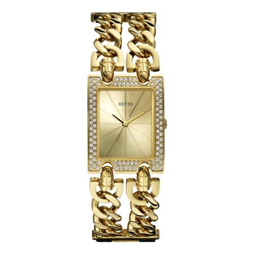 Guess Heavy Metal W0072L1 - Reloj analógico de cuarzo para mujer, correa de acero inoxidable chapado color dorado