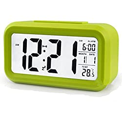 Chengzhong Sun LED Time Clock Large-Display Digital progressively Louder Multi-fonction Battery Operated Home Travel alarm clock Month, Date, and Temperature Display