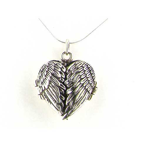 Luxury Ladies Sterling Silver Unusual Hinged Locket Pendant with Opening Angel Wings on 18