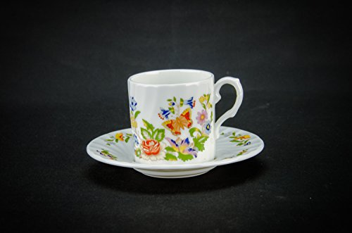 6 Persons Vintage Modernist Saucer COFFEE SET Cup Aynsley Gift Slick Bone China Small Cottage Garden English 1970s LS (Aynsley Teapot compare prices)