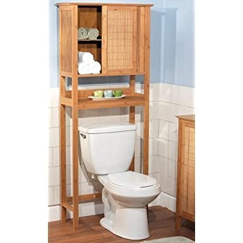 Natural Bamboo Space Saver Bathroom Storage Space - Towel Shelf Over Toilet