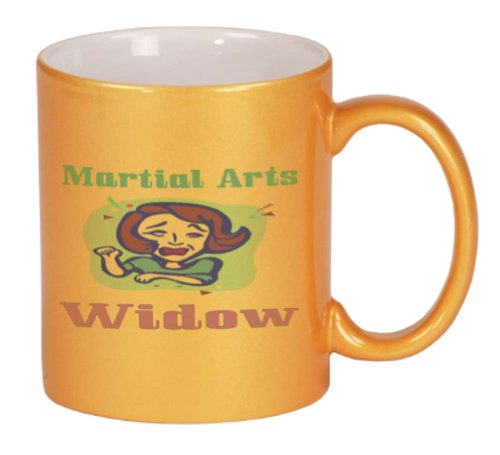 Martial Arts Widow Coffee Mug Metallic Gold 11 oz