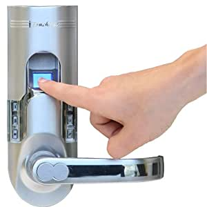 iTouchless Bio-Matic Fingerprint Door Lock For Right Hand Door, Silver