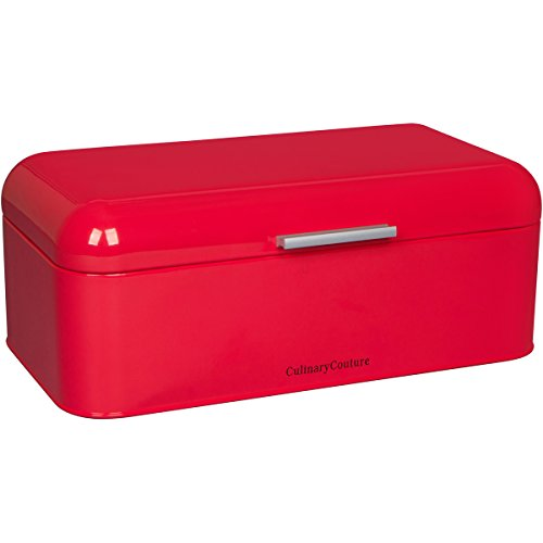 Coral Red Bread Box - Countertop Stainless Steel Bread Bin - Large Food Storage Container For Bagels Loaves & More- 185C Pantone, Check Coral Red Color (16.5 x 9 x 6.5