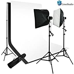 LimoStudio Photography 200W Softbox Studio Light Monolight Flash Photo Video Studio Lighting Kit, White & Black Backdrops with Support System, AGG111