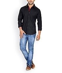 Tuscans Men Black Slim Fit Casual Shirt_QSS1_BLACK_XL