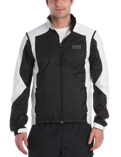 Gore Bike Wear Men's Path 2.0 Windstopper Active Shell Zip-Off Jacket - Black/White, Large