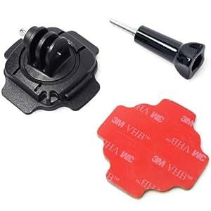 Azzuro® Fixation 360° pour casque rotative lock Adaptateur de montage pour trépied 3M autocollant adhésif surface laisse collante vis pour GoPro Hero 2 3 3+ OS29