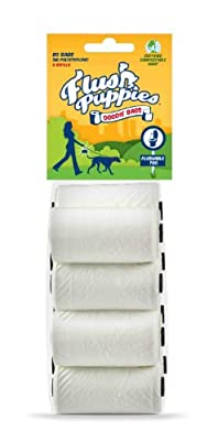 Flush Puppies Doodie Bags, Flushable & Certified Compostable, 8 Refill Rolls (80 Bags)