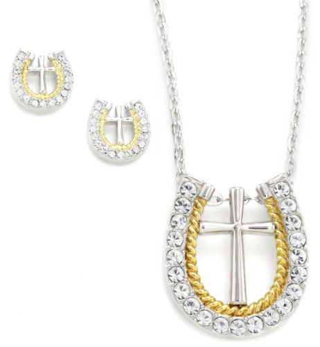 Western Edge Cross Horseshoe Gold Rope Jewelry Set