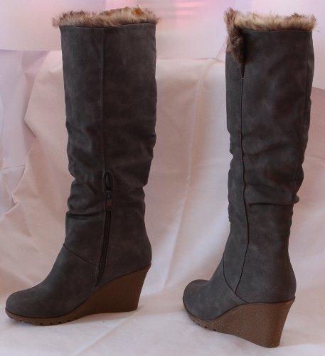 Stivali donna pelle stivali invernali Scarpe stivaletti stivali donna grigio gray beige, 40