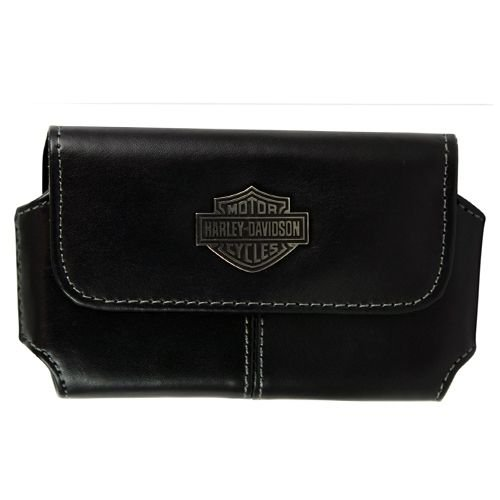 Fuse Harley Davidson Horizontal Leather Holster for iPhone and Most SmartPhones &#8211; Retail Packaging &#8211; Black