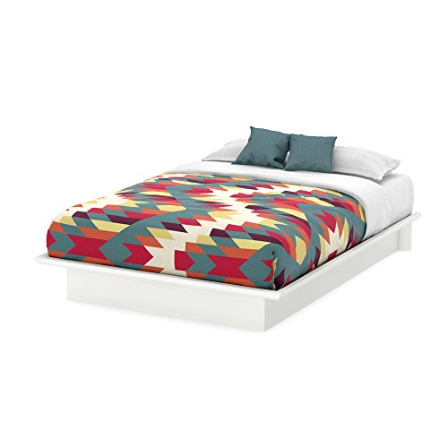 New South Shore Furniture, Basic Collection, Queen Platform Bed with Moulding 60, Pure White