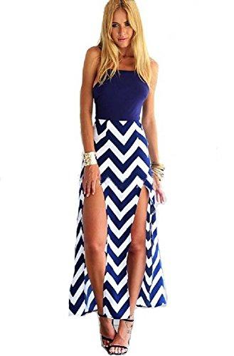Moxeay® Women Sexy Summer Blue Stripe Backless Irregular Beach Romper Dress (Asia XL/US 8, Navy Blue)