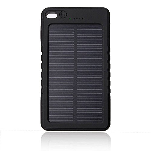 Solar Charger, Braudel 8000mAH Outdoor Portable Power Bank, Waterproof/Shockproof/Dustproof External USB Battery Bank with Carabiner flashlight for Cell Phone, iPhone,Samsung,Android phones,Windows Phones,GoPro Camera,GPS (Black)