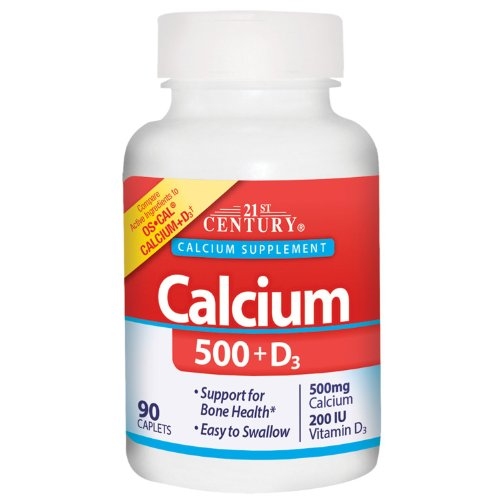 21St Century Calcium Plus D Caplets, 500 Mg, 90 Count