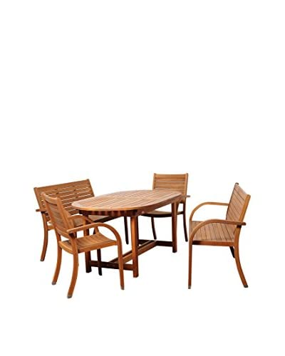 Amazonia Detroit 5-Piece Eucalyptus Extendable Oval Dining Set, Brown