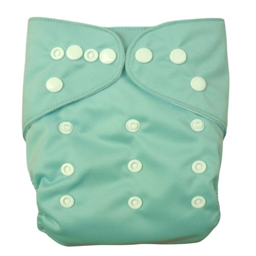 Alva Baby Washable Reusable Cloth Diaper All in Two Pocket with 2 Inserts (Blue Green) B04 - 1