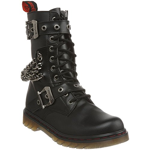 DEMONIA DISORDER-204 Men Buckles-Chains Punk Gothic 10 Eyelet Calf Combat Boot