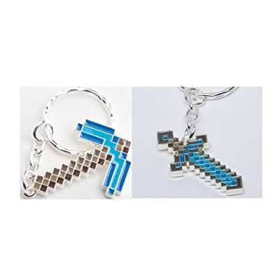 Minecraft Diamond Pickaxe And Sword Keychains Set Of 2 by Minecraft