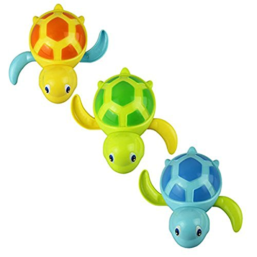 Set of 3 Baby Bathing Bath Swimming Tub Pool Toy Cute Wind Up Turtle for Boys Girls Blue Orange Green (Baby Tub For Boys compare prices)