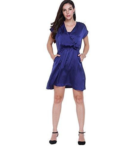 monroe-s-womens-v-neck-pleated-pocket-a-line-party-cocktail-mini-dress-skirts-kimono