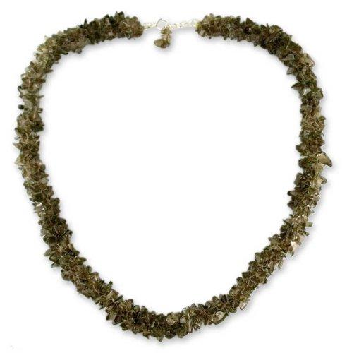 Smoky quartz beaded necklace, 'Midnight Dew'