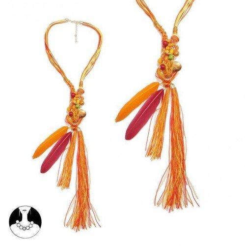 sg paris women necklace long necklace 64cm+ext comb orange feather