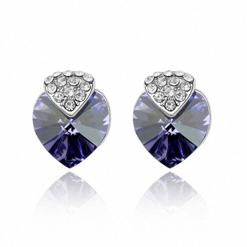 TAOTAOHAS- [ Search Name: Know My Heart ] (1PAIR) Crystallized Swarovski Elements Austria Crystal Stud Earrings, Made of Alloy Plated with 18K True Platinum / White Gold and Czech Rhinestone