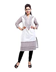 Handmade Off-White Kurti Cotton Flex Printed Floral Small For Ladies By Rajrang