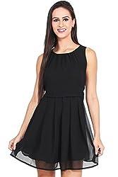 Mastani Kreation's Solid Black Fully Stitched Western Dress