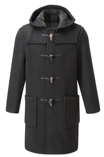 Mens Long Duffle Coats -- Charcoal-Black (40)
