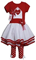 Bonnie Jean Baby Girls Valentine Tutu Dress Outfit w/ Leggings, Red, 2T