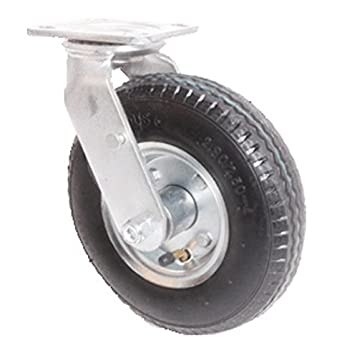 "6"" Swivel Plate Caster, Pneumatic Wheel, 300 lbs Capacity, Ball Bearings"