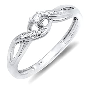 0.06 Carat (ctw) Sterling Silver Round Diamond Ladies Crossover Swirl Bridal Promise Engagement Ring