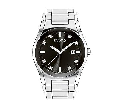 Bulova Men's Stainless Steel Round Black Dial Watch