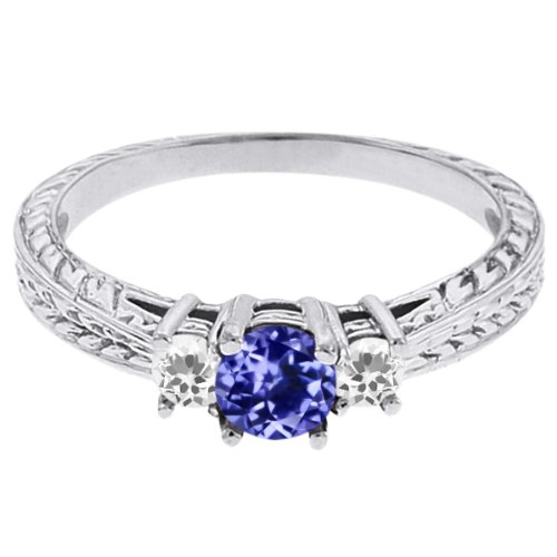 0.58 Ct Round Blue Tanzanite White Topaz 14K White Gold 3-Stone Ring
