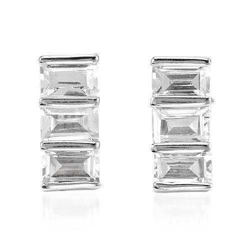 Three-stone Earrings With 6.78ctw Cubic zirconia Beautifully Designed in 925 Sterling silver