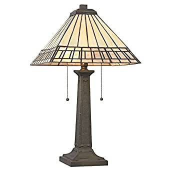 mission 24 inch tiffany bronze table lamp. Black Bedroom Furniture Sets. Home Design Ideas