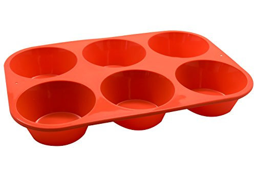 Marathon Housewares KW200016OR Premium Silicone 6 Cup Jumbo Muffin or Cupcake Pan, Orange