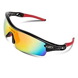 RIVBOS TR 90 Frame Polarized Sports Sunglasses Sun Glasses with 5 Set Interchangeable Lenses for Men Women Cycling Baseball