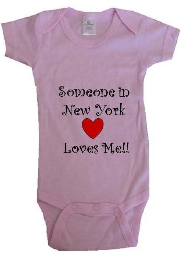 SOMEONE IN NEW YORK LOVES ME - NEW YORK BABY - State-series - Pink Onesie / Baby T-shirt - size Small (6-12M) at Amazon.com