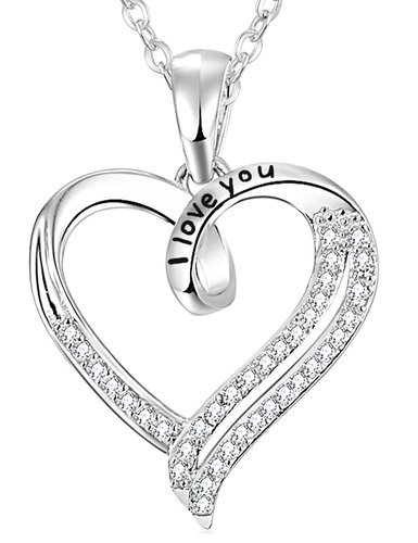 Elda & Co Necklace Heart Sterling Silver I love you Engraved Necklace Pendant for Women - Cubic Zirconia Jewelry with 18