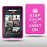 """AMAZON KINDLE FIRE TABLET KEEP CALM & CARRY ON SILIKON SKIN CASE SCHUTZH�LLE IN ROSA (PINK) / WEI�von """"CELLAPOD"""""""